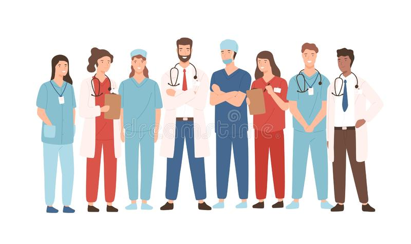 Groep het ziekenhuis medisch personeel die zich verenigen Mannelijke en vrouwelijke geneeskundearbeiders - artsen, artsen, parame vector illustratie