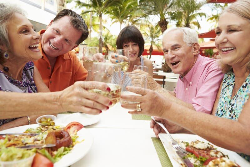 Groep Hogere Vrienden die van Maaltijd in Openluchtrestaurant genieten stock foto's