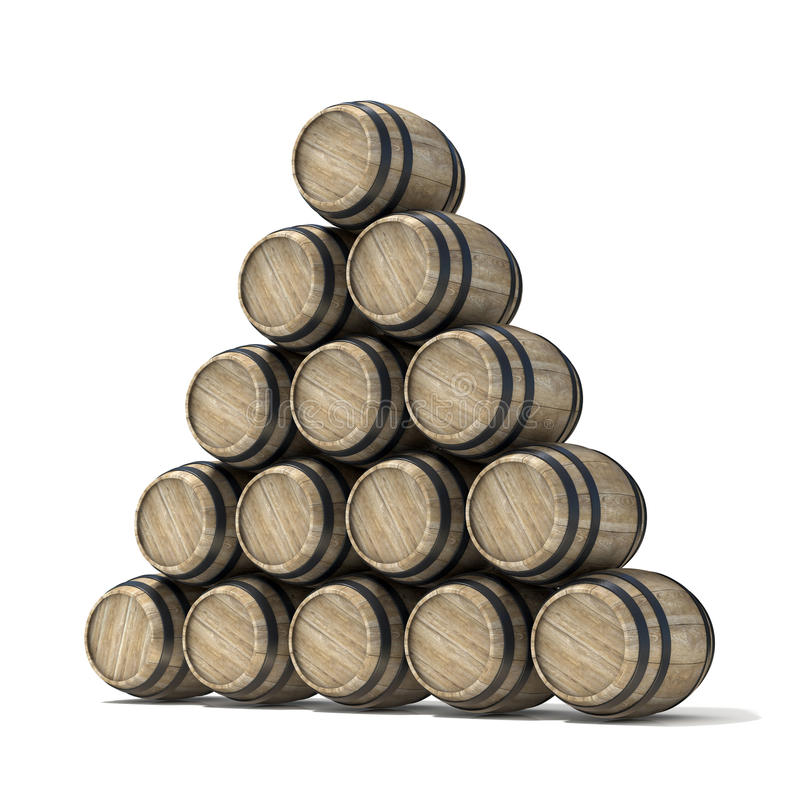 Groep houten wijnvatten 3d geef terug vector illustratie