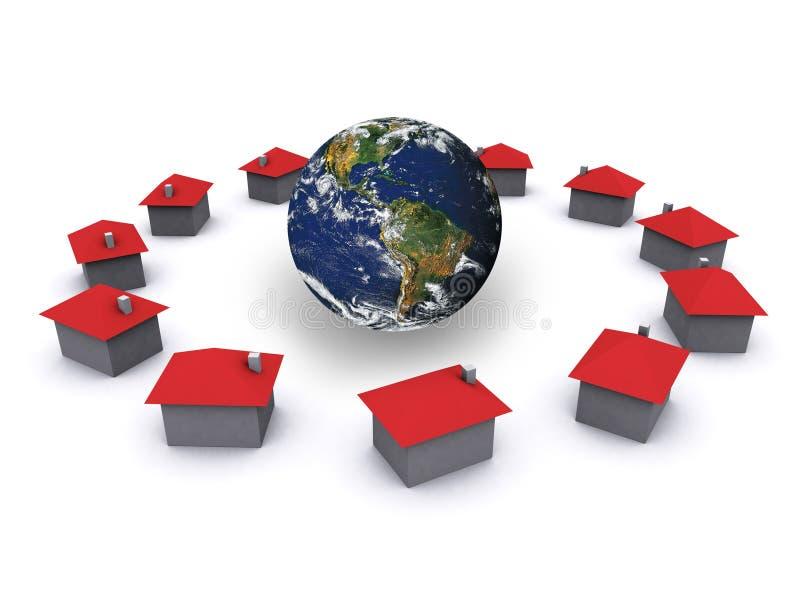 Groep huizen stock illustratie