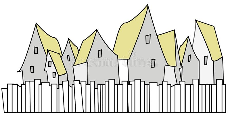 Groep huizen met gele daken met omheining vooraan royalty-vrije stock afbeeldingen