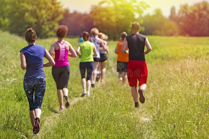 Groep jonge atleten lopende marathon in openlucht royalty-vrije stock afbeeldingen
