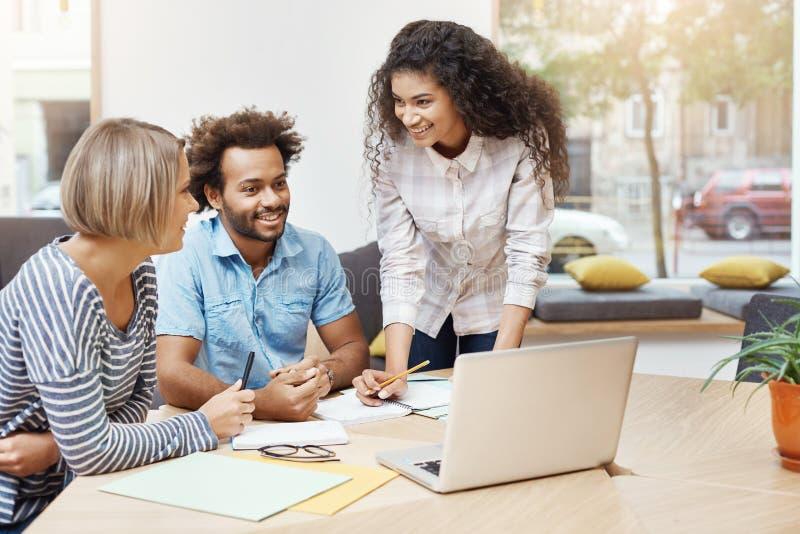 Groep jonge bedrijfsmensen die productieve ochtend in bibliotheek doorbrengen, businessplannen bespreken en bedrijf ontwikkelen royalty-vrije stock afbeeldingen