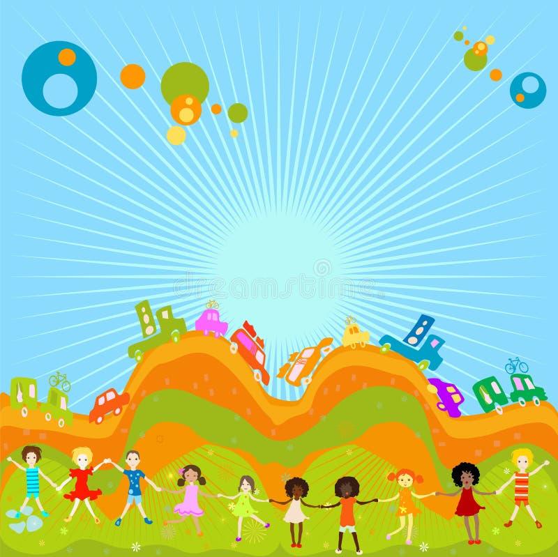 Groep jonge geitjes het spelen vector illustratie