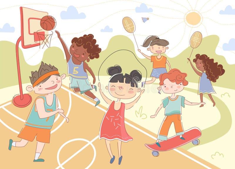 Groep jonge kinderen die de zomersporten spelen stock illustratie