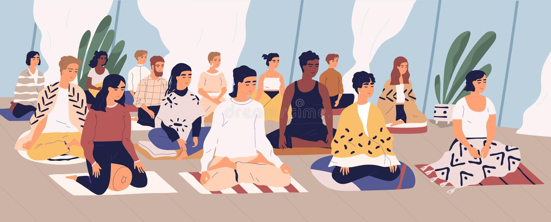 Groep jonge mannen en vrouwen die op vloer zitten, en de oefening van de ademcontrole mediteren uitvoeren yogaterugtocht royalty-vrije illustratie