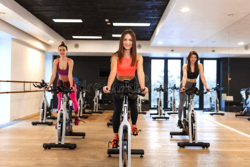 Groep jonge slanke vrouwentraining op hometrainer in gymnastiek Sport en het concept van de wellnesslevensstijl stock afbeeldingen