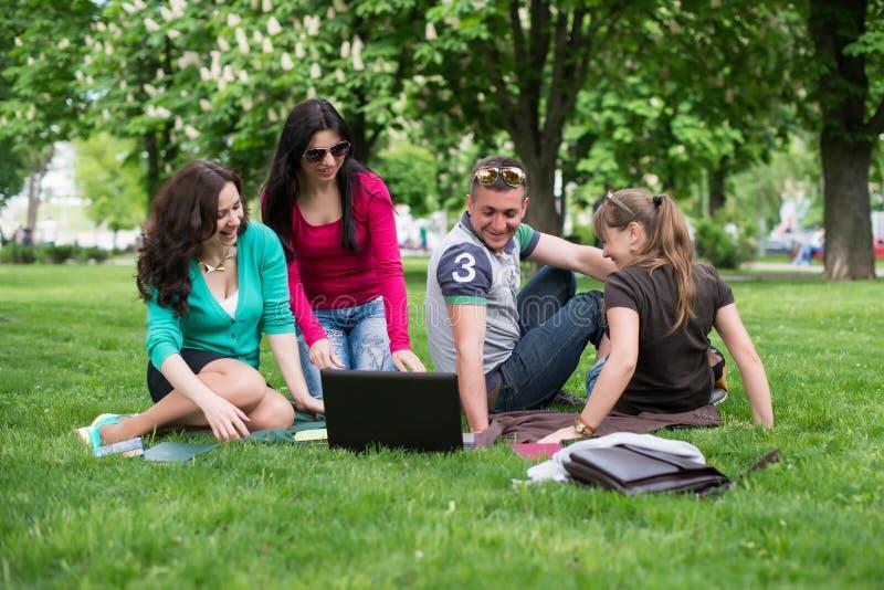 Groep jonge student die laptop samen met behulp van stock afbeelding