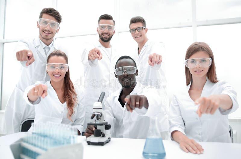 Groep jonge succesvolle wetenschappers die voor camera stellen stock afbeeldingen