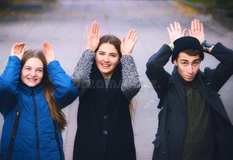 Groep jonge vrienden die konijnoren tonen royalty-vrije stock foto