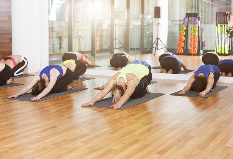 Groep jonge vrouwen in yogaklasse stock foto's