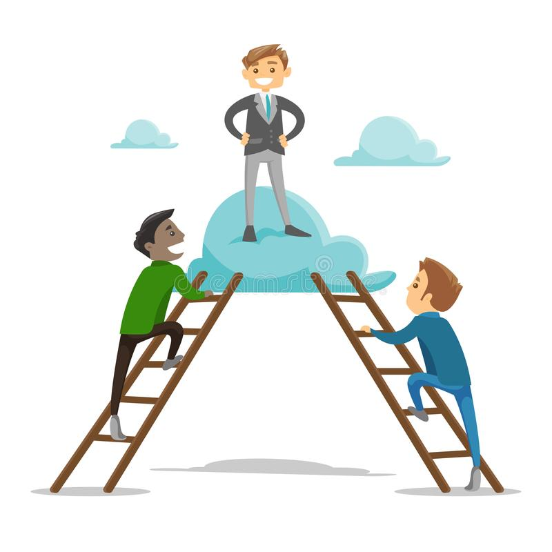 Groep jonge zakenlieden die op de wolk beklimmen royalty-vrije illustratie