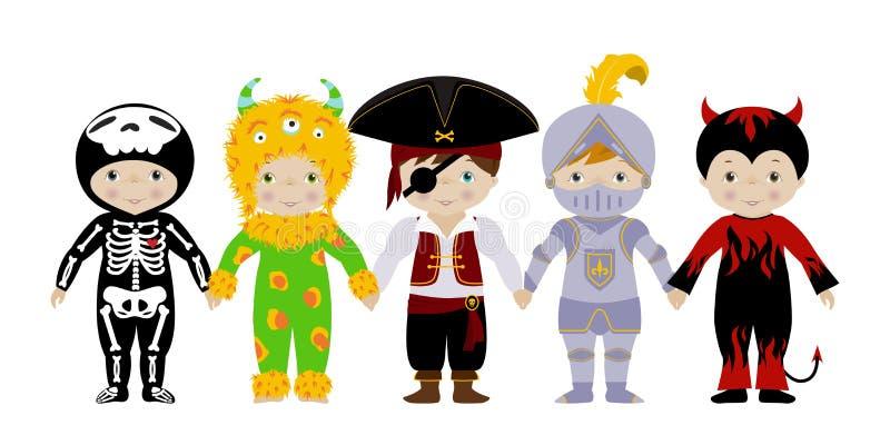 Groep jongens in kostuums royalty-vrije illustratie