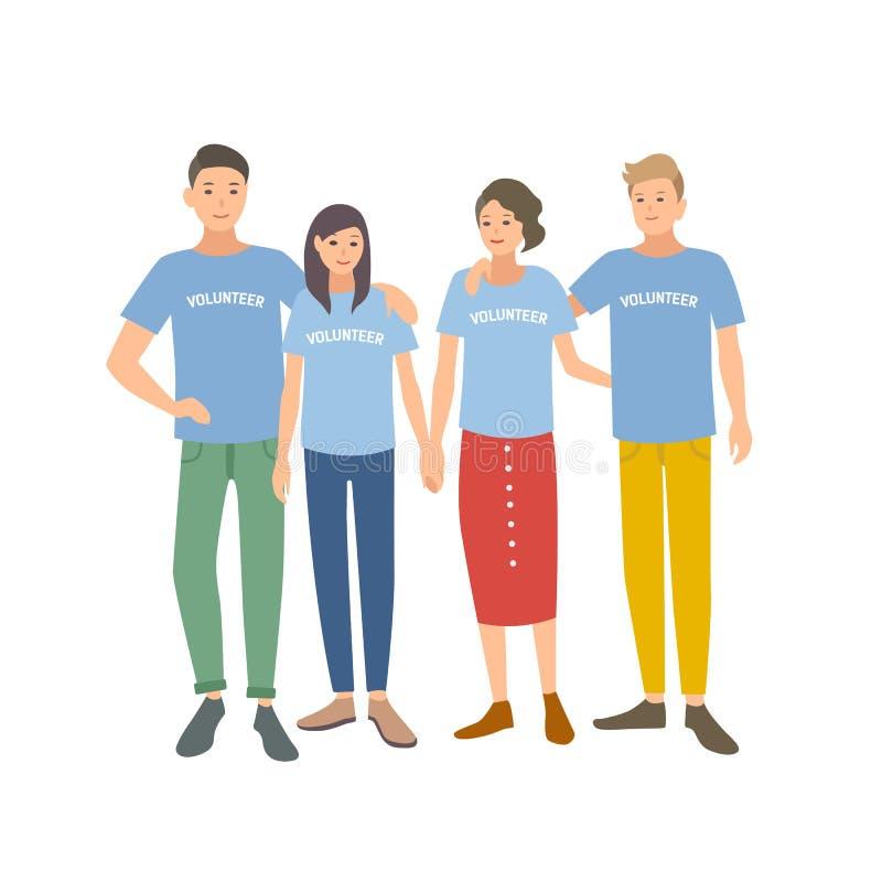 Groep jongeren die t-shirts met Vrijwilligerswoord op het dragen Team van mannen en vrouwen die zich voor liefdadigheid aanmelden vector illustratie