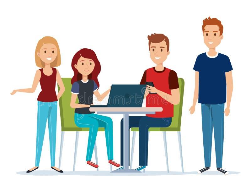 Groep jongeren in werkplaatsavatars royalty-vrije illustratie