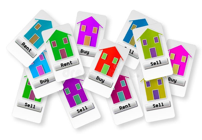 Groep kaartjes met verscheidene opties: koop, verkoop of huur uw ho stock afbeelding