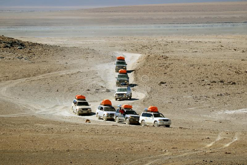 Groep kampeerautobestelwagens die op de woestijnweg lopen, Eduardo Avaroa Andean Fauna National-Reserve, Potosi, Bolivië stock foto's