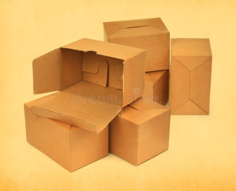 Groep kartondozen stock foto's