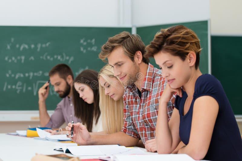 Groep Kaukasische bepaalde studenten studyng royalty-vrije stock foto