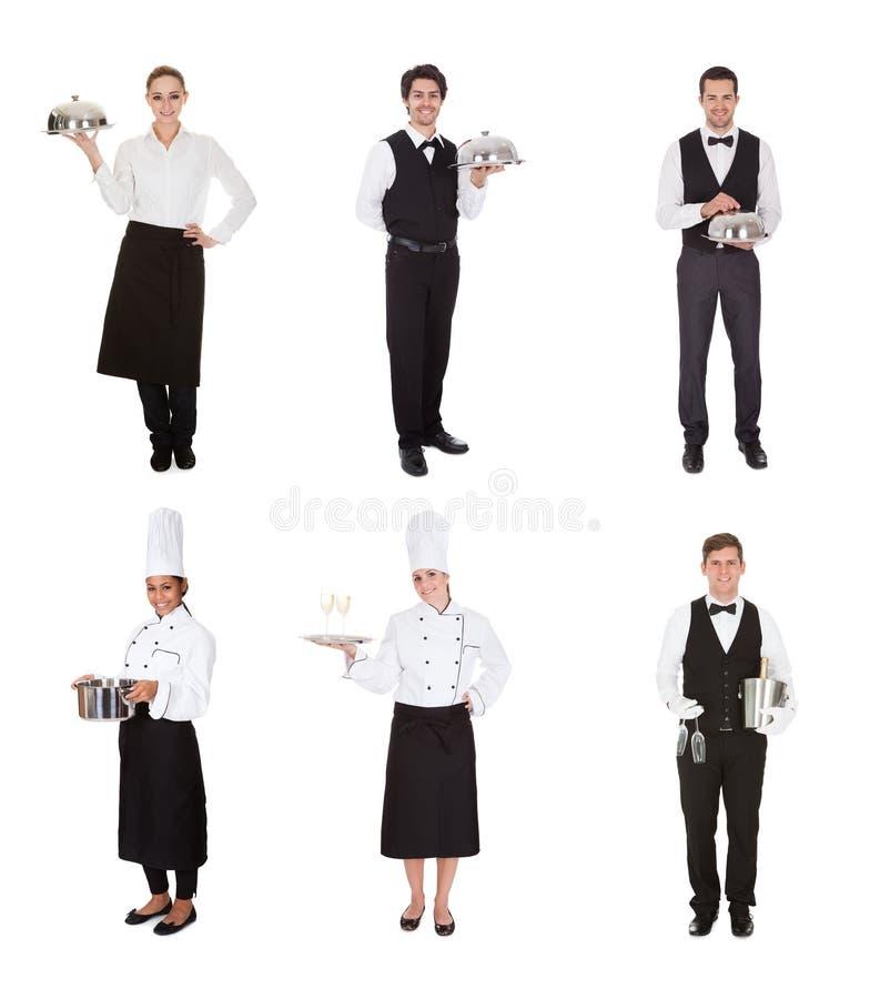 Groep kelner en serveerster stock foto's