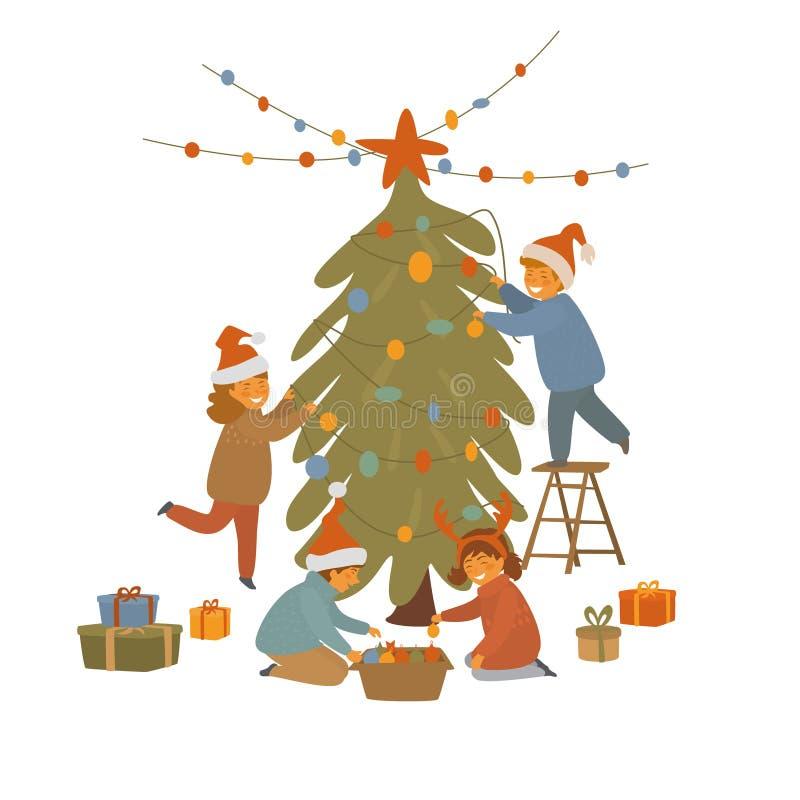 Groep kinderen die Kerstmisboom verfraaien royalty-vrije illustratie