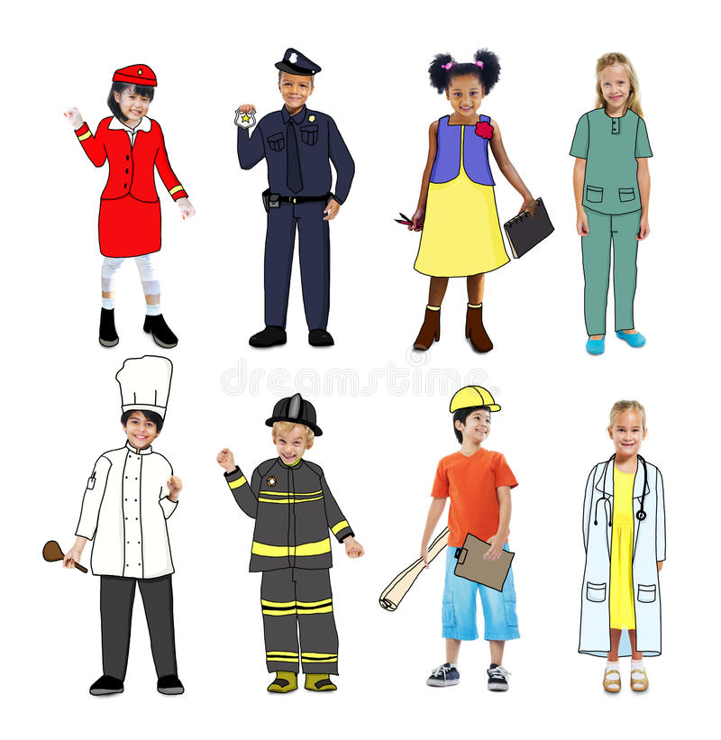 Groep Kinderen die Toekomstig Job Uniforms dragen stock illustratie