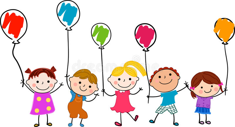 Groep kinderen en ballon royalty-vrije illustratie