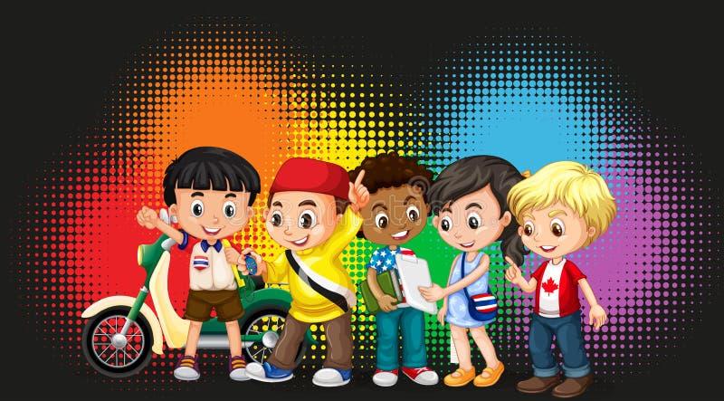 Groep kinderen met regenboogachtergrond royalty-vrije illustratie