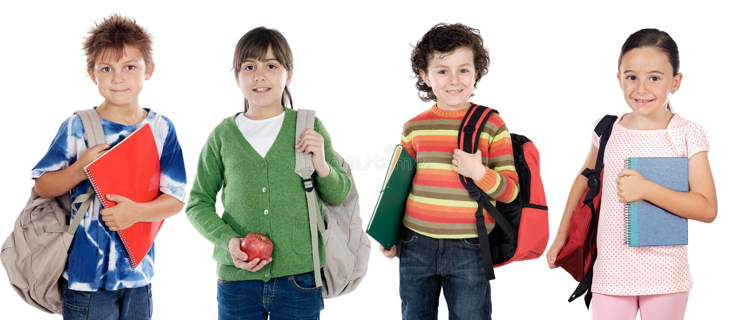 Groep kinderenstudenten royalty-vrije stock afbeeldingen
