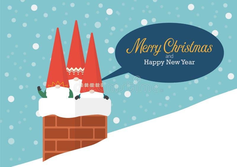 Groep Kleine Kerstman in schoorsteen royalty-vrije illustratie