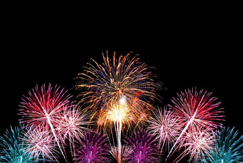 Groep kleurrijk vuurwerk op donkere achtergrond royalty-vrije stock afbeelding