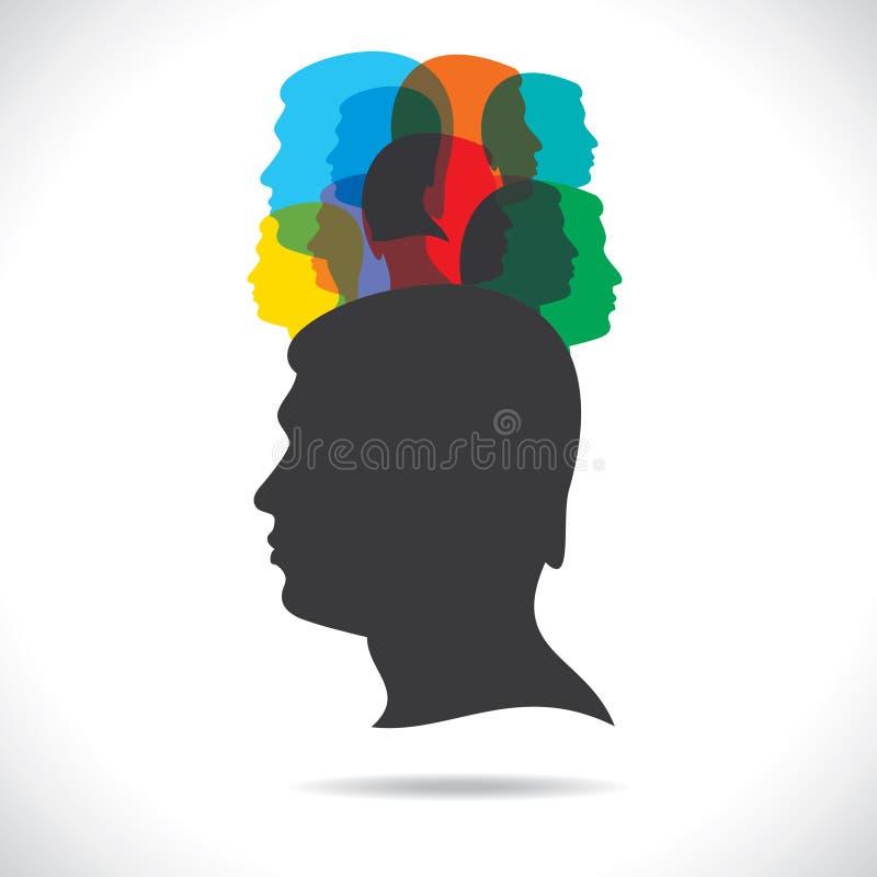 Groep kleurrijke mensen op hoofd royalty-vrije illustratie