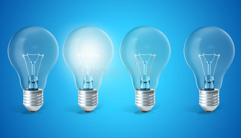 Groep lampbollen op blauwe achtergrond met enige gloeiende bol De ideeën van de concepteninnovatie, het 3d teruggeven vector illustratie