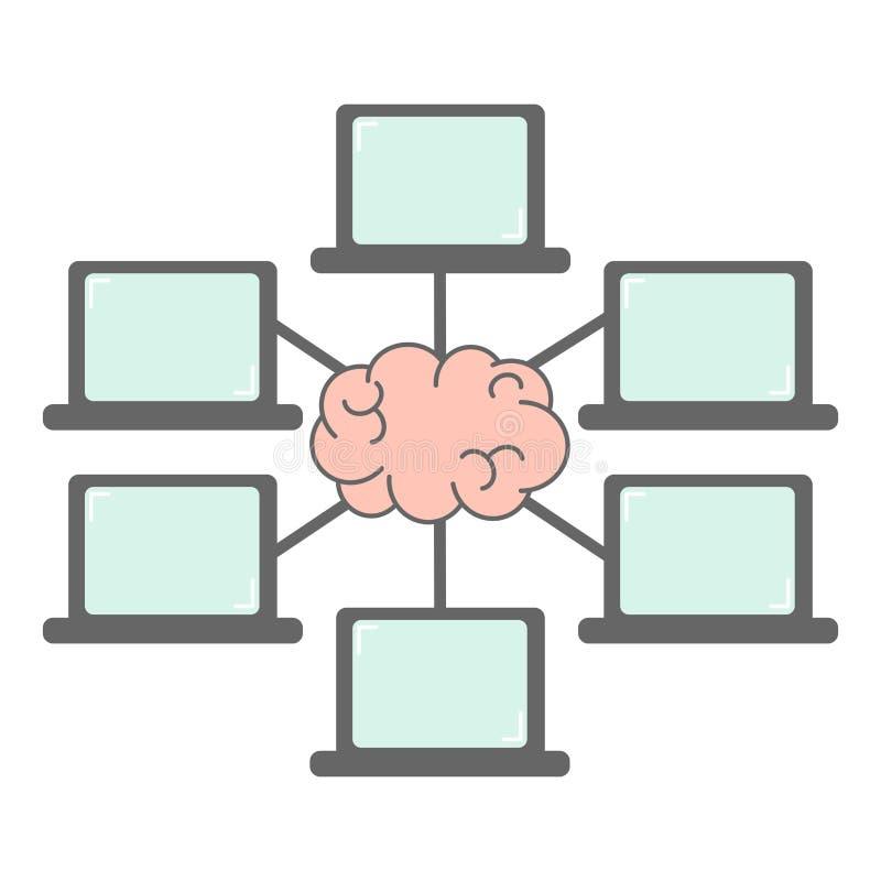 Groep laptop verbinding en de mededeling van het hersenennetwerk en webinar concepten vectorillustratie stock illustratie