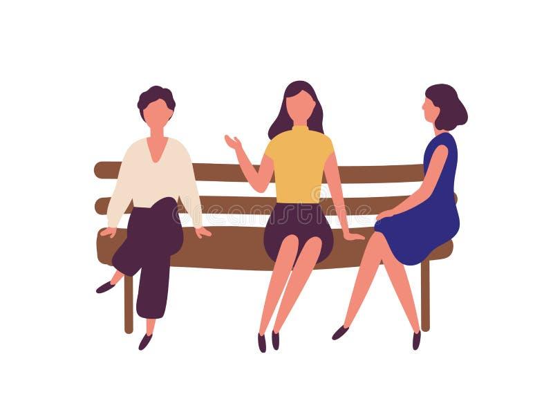 Groep leuke jonge vrouwen die op bank bij park en het spreken zitten Openluchtvergadering van vrouwelijke vrienden Grappig vlak b stock illustratie