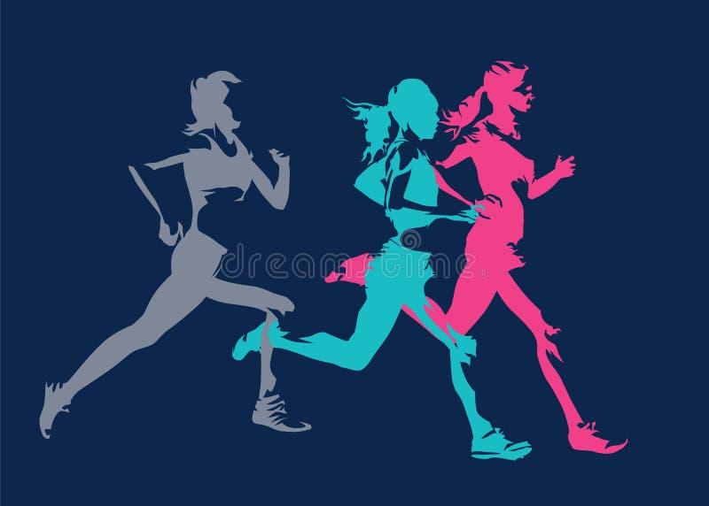 Groep lopende vrouwen, geïsoleerde silhouetten stock illustratie
