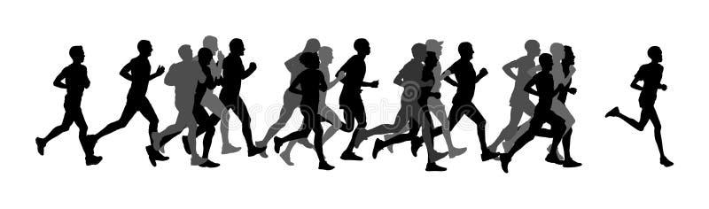 Groep marathonraceauto's het lopen Het vectorsilhouet van marathonmensen Stedelijke agenten op de straat vector illustratie