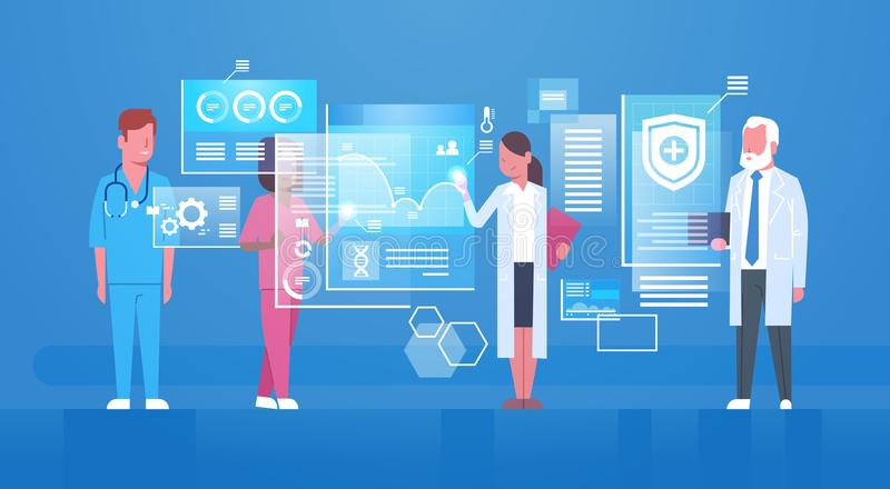 Groep Medische Artsen die Digitaal de Technologieconcept hanteren van de het Scherm Modern Geneeskunde stock illustratie
