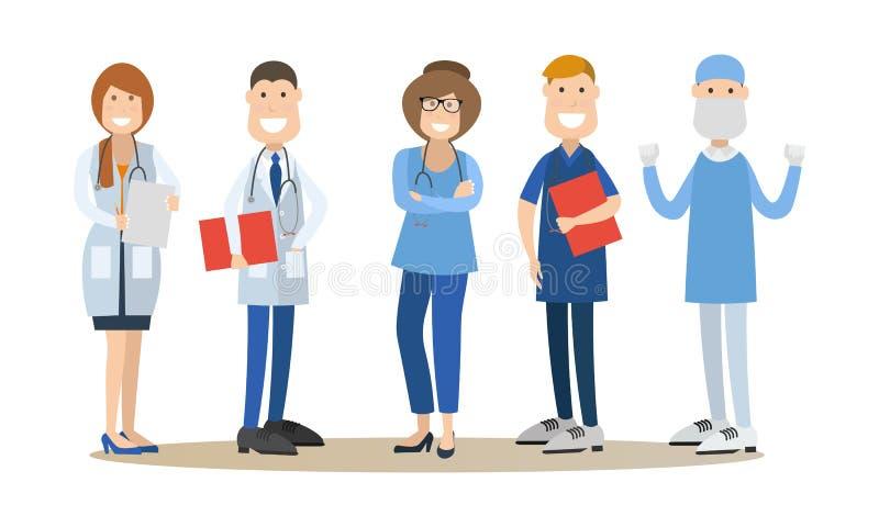 Groep medische artsen vectorillustratie in vlakke stijl royalty-vrije illustratie