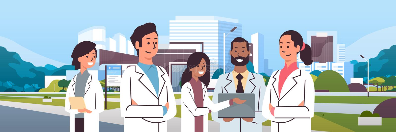 Groep mengelingsras artsenteam in zich het eenvormige verenigen over het ziekenhuis die moderne medische kliniekbuitenkant bouwen vector illustratie
