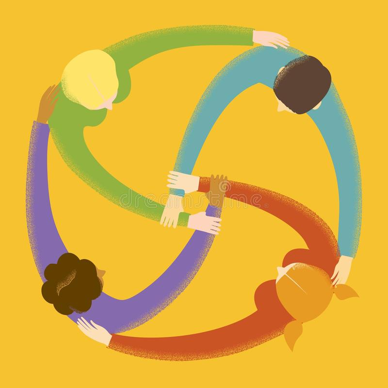 Groep mensen in cirkel royalty-vrije illustratie