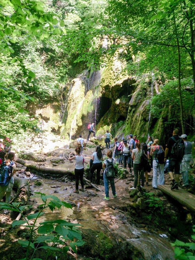 Groep mensen dichtbij mooie watervallen in een nationaal park enj royalty-vrije stock afbeeldingen