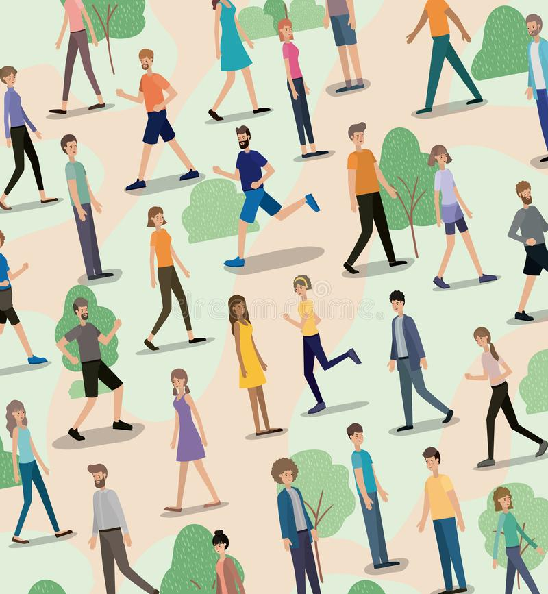 Groep mensen die en op de parkkarakters lopen lopen royalty-vrije illustratie
