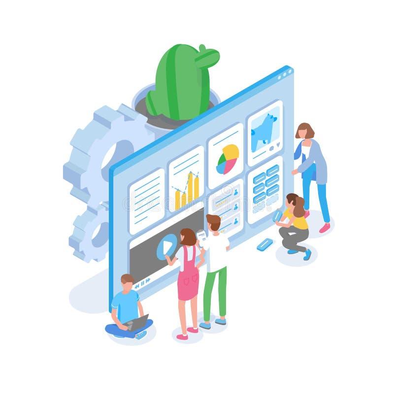 Groep mensen die zich voor het reuzecomputerscherm bevinden en website voor zoekmachines optimaliseren SEO Analytics vector illustratie