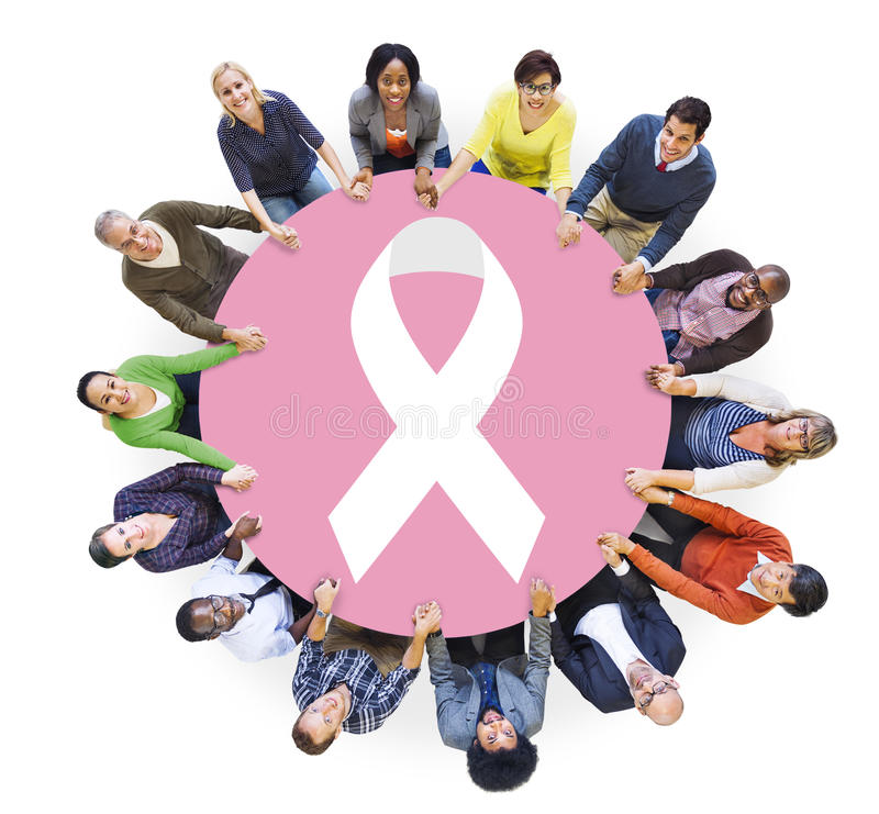 Groep Mensen en het Concept van Borstkanker stock afbeeldingen