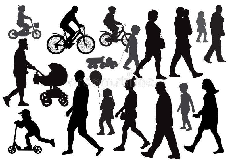 Groep mensen gaan die in verschillende richtingen lopen menigte vector illustratie