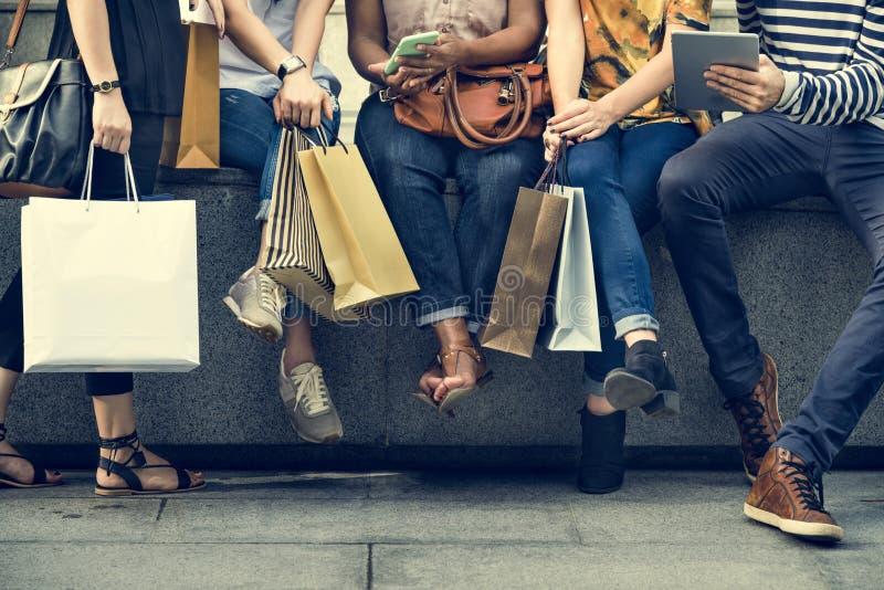 Groep Mensen het Winkelen Concept stock afbeeldingen