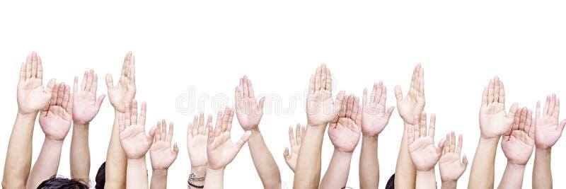 Groep mensen met omhoog handen stock afbeelding