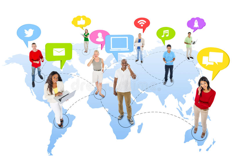 Groep Mensen met Sociale Media stock fotografie