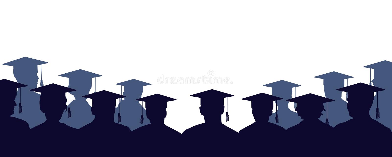 Groep mensen met universitaire diploma's Menigte van mensen van studenten, in mantels stock illustratie
